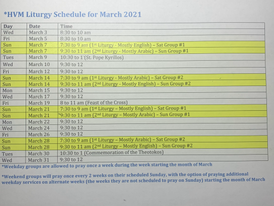 Schedule of Liturgies for the Month of March 2021