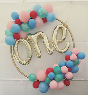 The Little Balloonery. One script balloon gold. Balloon hoop