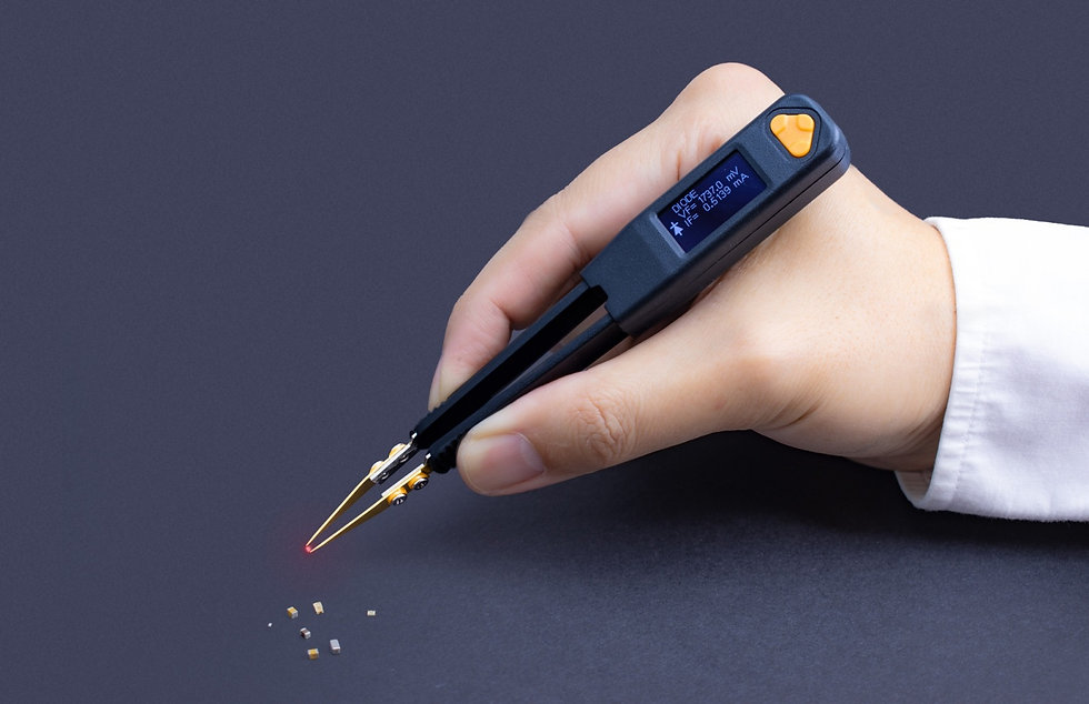 Smart Tweezers-style LCR meter LCR Pro1 Plus testing LED