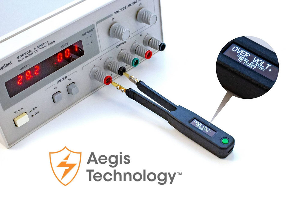 Smart Tweezers-style LCR meter LCR Elite2, Aegis Technology for over voltage protection.