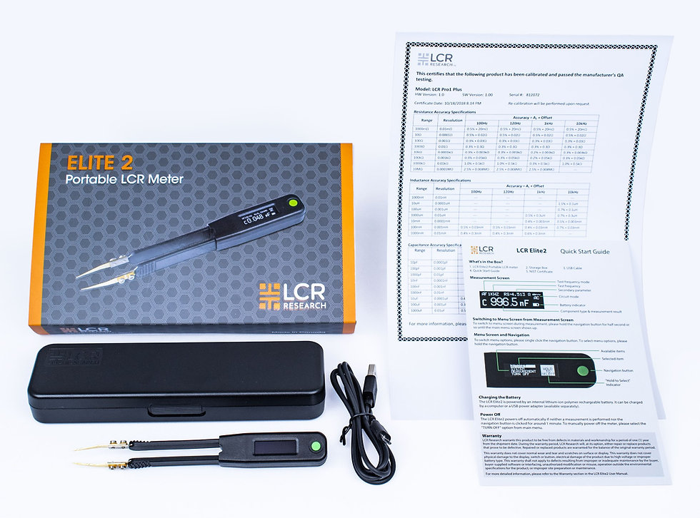 What's in the box for Smart Tweezers-style LCR meter LCR Elite2