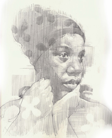 STUDY OF WOMAN LOOKING   Graphite pencil on cartridge paper  28 x 24 cm