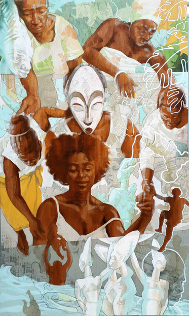 YES OLOWÉ OF ISÉ, LET THE WOMEN BRING THEIR GIFT   Ink dyes, acrylic and graphite, graphic marker on wood panel  152 x 92 cm