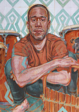 DANIEL THE PERCUSSIONIST   Acrylic and graphite on wood panel  81 x 61 cm   NOT FOR SALE