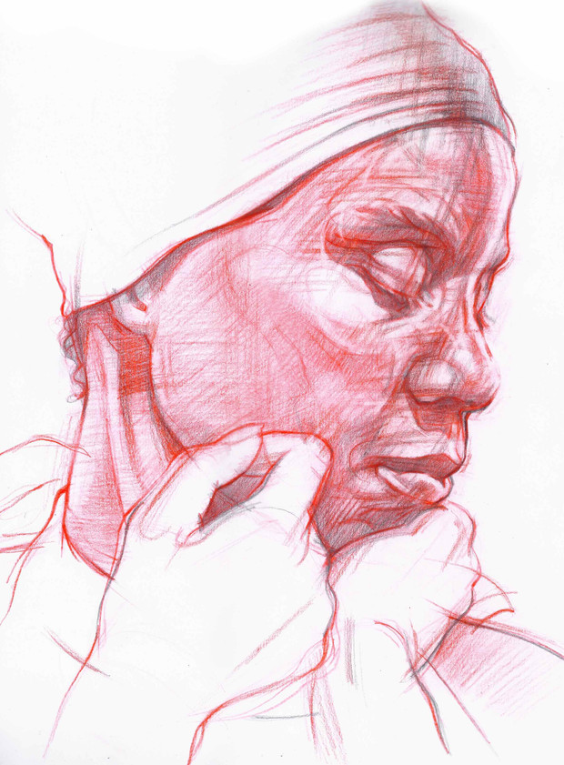 STUDY OF LADY IN RED 2   Graphite and coloured pencil on paper  39 x 39 cm