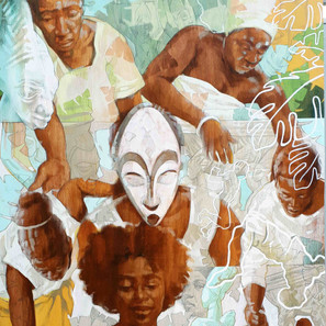 YES, OLOWÉ OF ISÉ, LET THE WOMEN BRING THEIR GIFTS   Ink dyes, acrylic and graphite, graphic marker on wood panel  152 x 92 cm