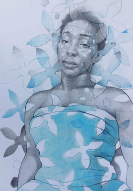 BLUE LADY   Acrylic and graphite on cartridge paper  43 x 30 cm