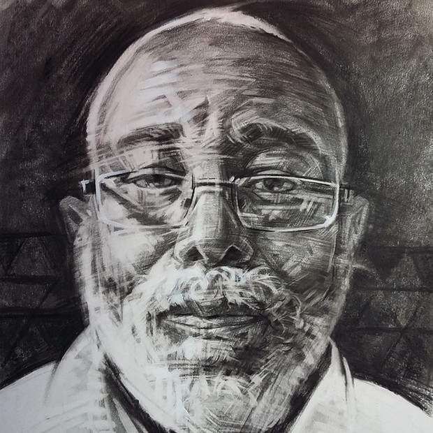 FOWOKAN  -  Portrait in Charcoal   Charcoal on cartridge paper  50 x 38 cm