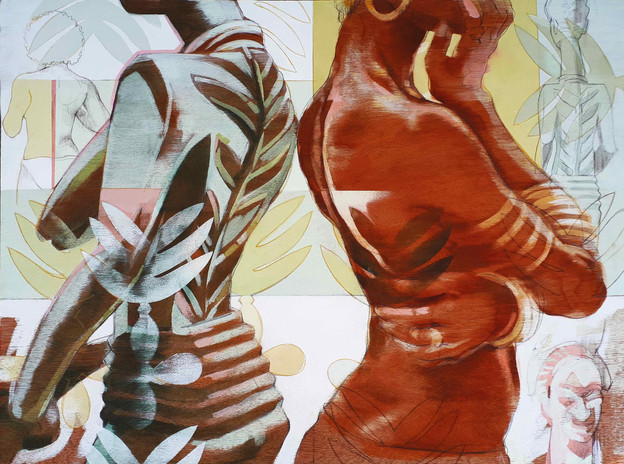STANDING BY OLOWÉ'S VERANDA POST   Ink dyes, acrylic and graphite, on wood panel  61 x 81 cm