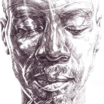 WRITTEN IN THE FACE   Graphite pencil on cartridge paper  45 x 32 cm