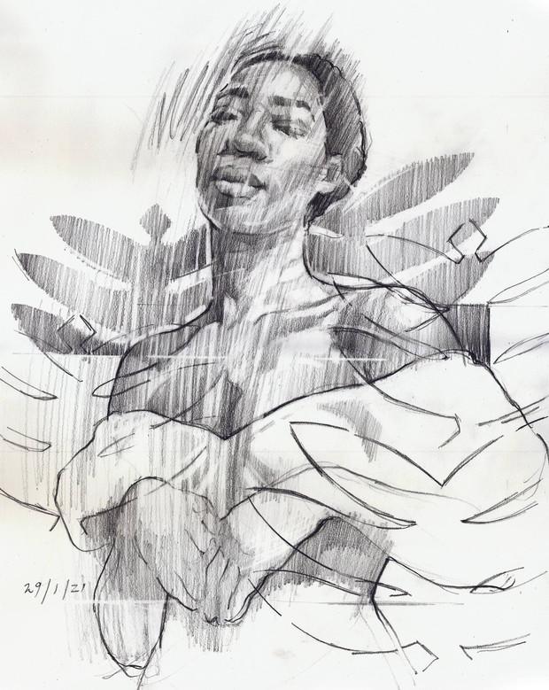 FLOATING   Graphite pencil on cartridge paper  40 x 32 cm