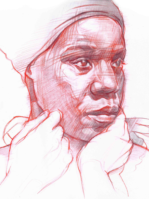 STUDY OF LADY IN RED 1   Graphite and coloured pencil on paper  39 x 39 cm