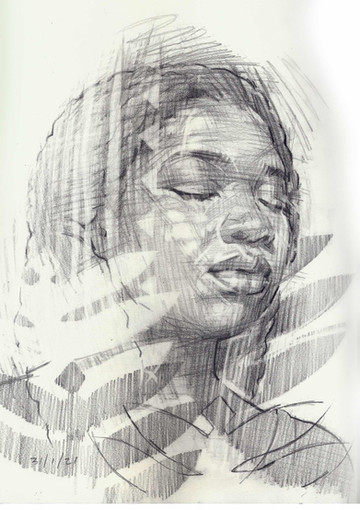 DAYDREAMING   Graphite pencil on cartridge paper  32 x 34 cm