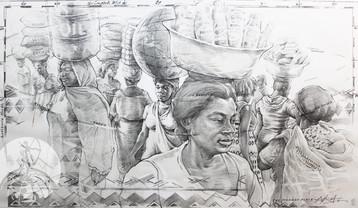 THE MARKET PLACE   Graphite pencil on cartridge paper  49 x 83 cm