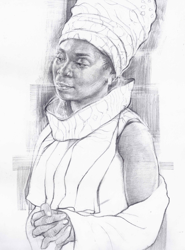 STUDY OF STANDING WOMAN   Graphite pencil on cartridge paper  90 x 38 cm