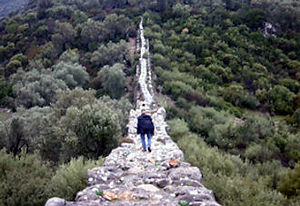 Trekking on the Lycian Way at Delikkemer aqueduct