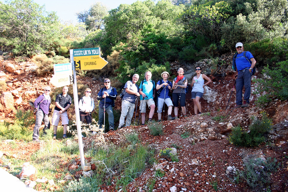 Group trekking the lycian way to Phellos
