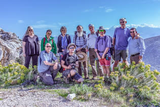 Group of Trekkers near Sidmya with The mountain of Akdag