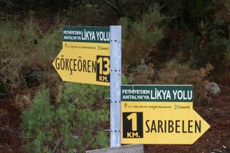 Lycian walking sign post gokceoren saribelen