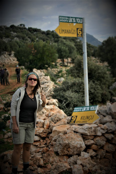 Zeynep Bazlar at Trekking sign pot in Lycian trail