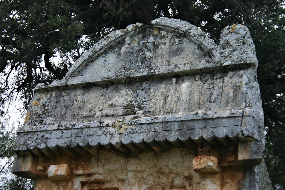Lycian Tomb with funerial relief at entrance to Hoyran