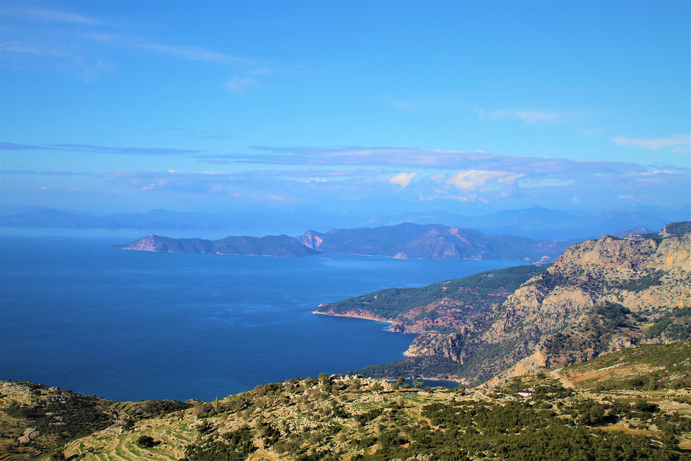 View of the sea from the Lycain Way trekking route