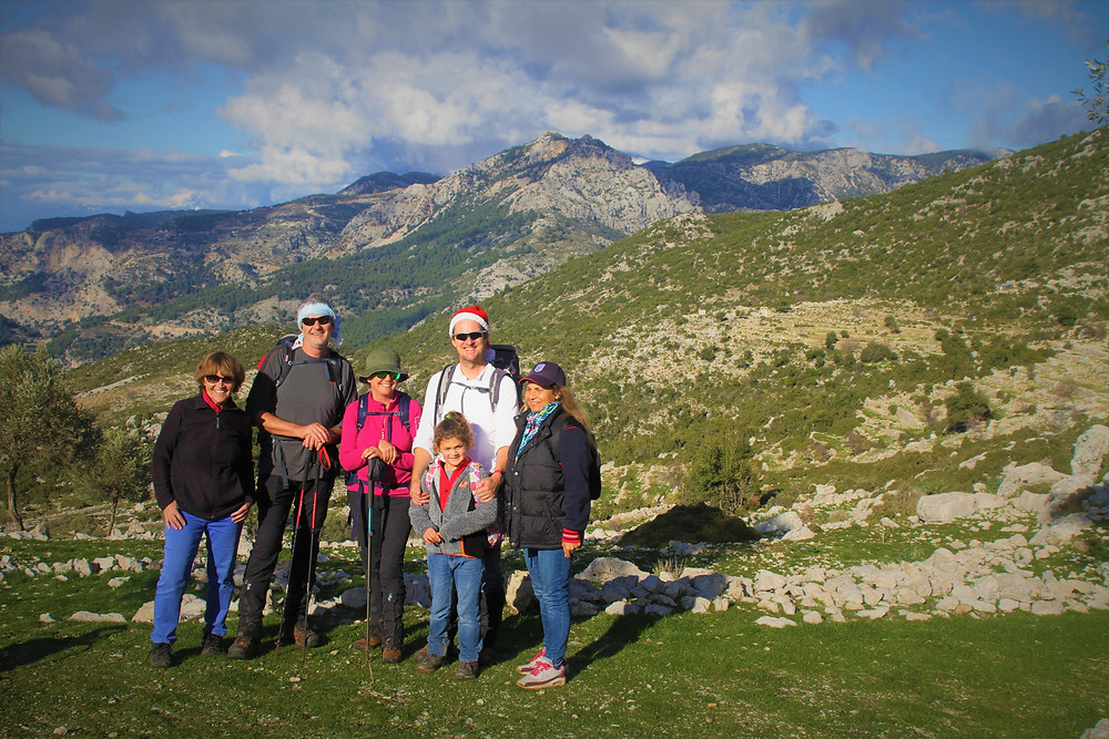 Trekking group in winter in Lycia, above the village of gey on way to village