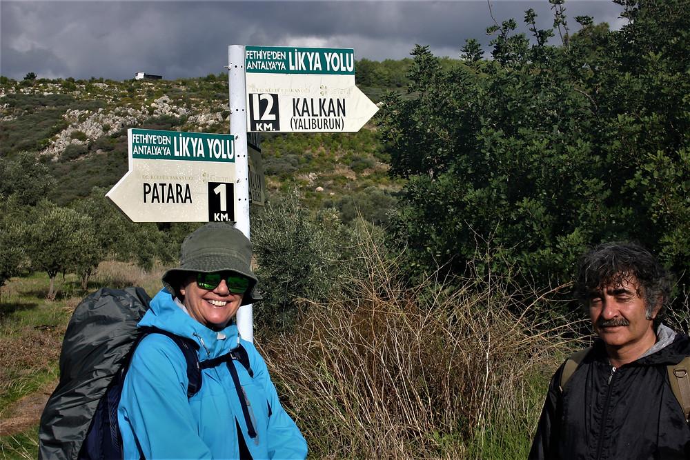 Lycian Way sign post at Patara