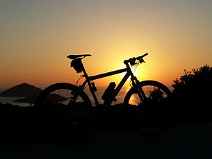 Sunset in Turkey with bike