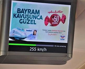 screen in Turkey's high speed train