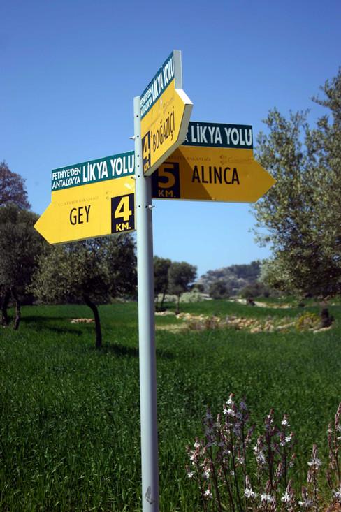 Lycian Way signpost Alinca Gey Bogazici