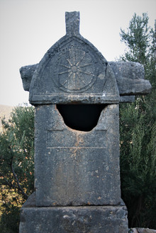 Lion head sarcophagus at Apollonia ad Lycia