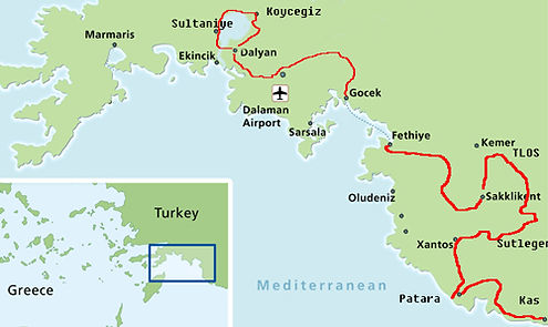 Cycling group tour holiday map in Turkey turquoise coast