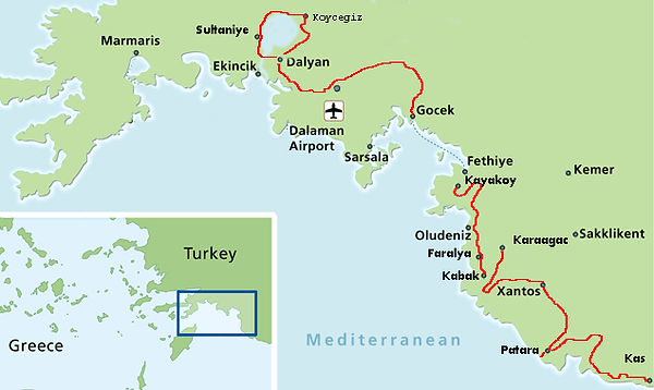 Self guided cycling route in Turkey
