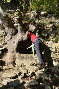 Pilgrim at spring on Turkey Camino