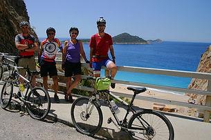 Cycling group on Turkey's coast
