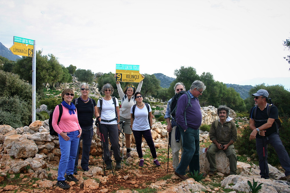 A group trekking on the Lycian way