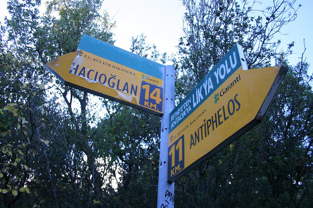 Lycian Way signpost