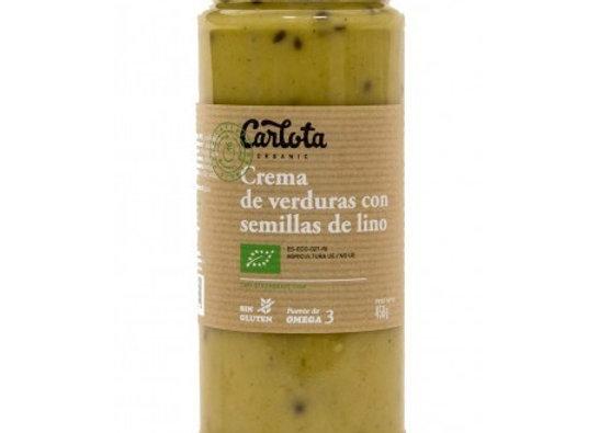 Crema de verduras con semillas de lino