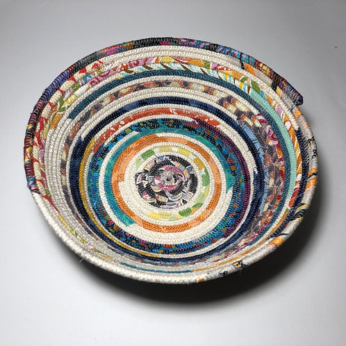 Medium Rope Bowl In Mixed Colours And Beige