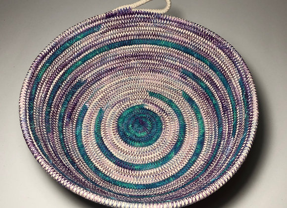 Medium Rope Bowl In Purple And Blue With Beige