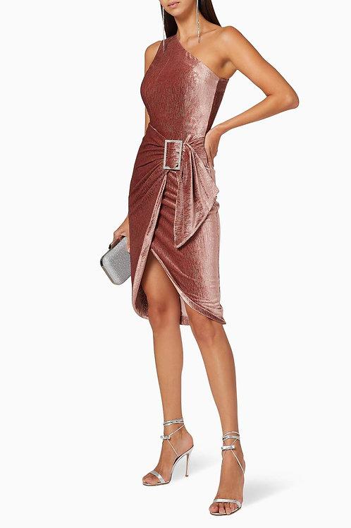 One Shoulder Mink Velvet Dress