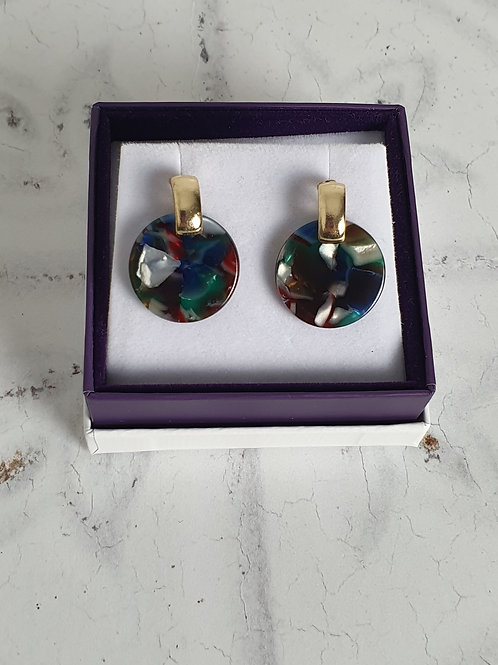 Multi-Coloured Tortoiseshell Circular Earrings