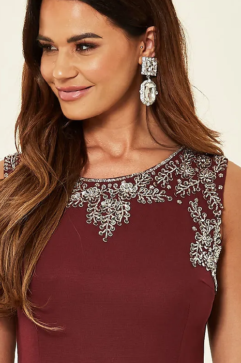 Burgundy Dress with Sequin Detail
