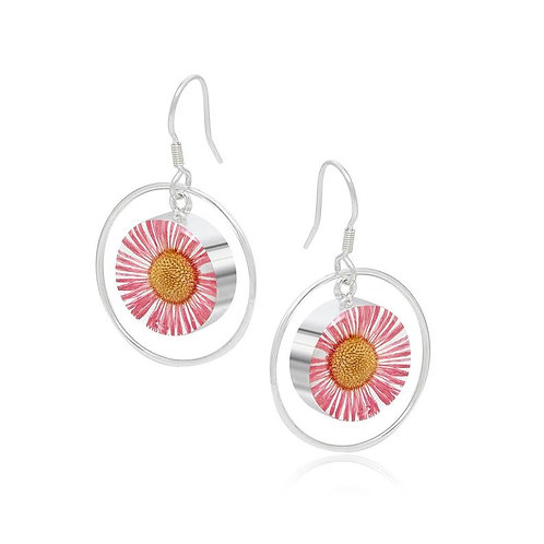 Sterling Silver Pink Daisy Hoops