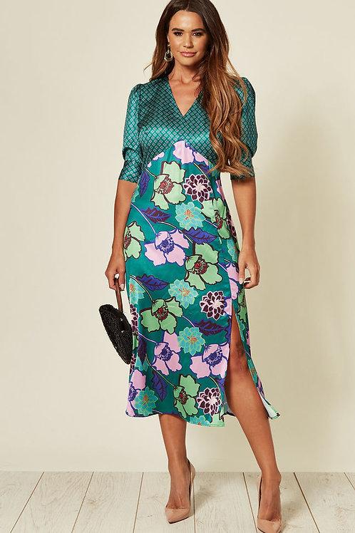 Satin Midi Dress with Floral Print