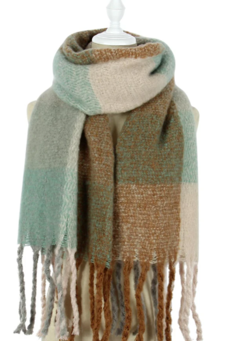 Large Mint Green & Brown Check Scarf