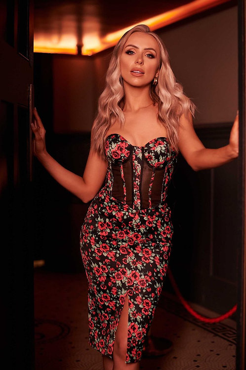 Rosie Connolly Corset Dress in Rose Print