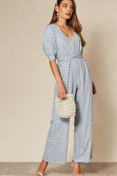 Light Blue & Silver Polka Dot Jumpsuit