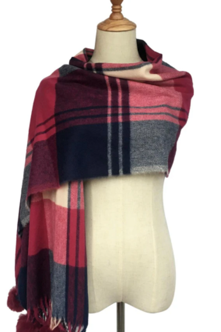Wine Coloured Tartan Scarf